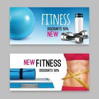 acessórios de fitness banners realistas definir ilustração vetorial vetor