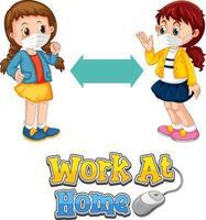 fonte work at home em estilo cartoon com duas crianças mantendo distância social isolada no fundo branco vetor