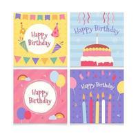 conjunto de coleção de cartões de aniversário vetor