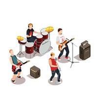 ilustração em vetor composição isométrica de banda de rock