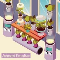 ilustração vetorial de fundo isométrico de floricultura automatizada vetor