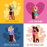 ilustração em vetor amor abraços conceito de design