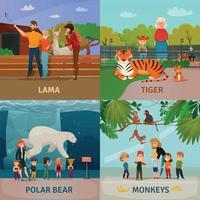 ilustração em vetor conceito visitantes do zoológico