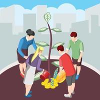 nutrir a ideia de crowdfunding ilustração vetorial de fundo isométrico vetor