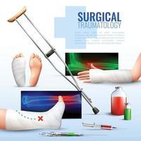 ilustração em vetor conceito traumatologia cirúrgica