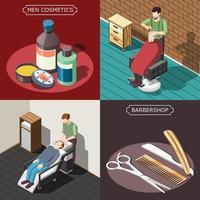 ilustração em vetor conceito design isométrico barbearia