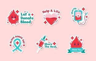 conjunto de adesivos fofo do dia mundial do doador de sangue vetor