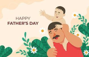 pai e filho ilustração feliz vetor
