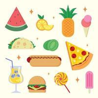 conjunto de design de ícones de comida de verão vetor