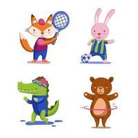 coleção de personagens de esportes de animais vetor