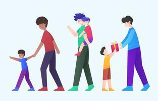dia dos pais e conjunto de caracteres de atividade do filho vetor