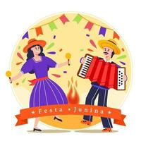 festa junina brasil festival ilustração festa casal vetor