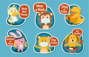 adesivos de animais divertidos para novas crianças normais vetor