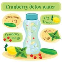 ilustração em vetor cranberry detox água composição plana