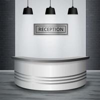 recepção saguão escritório interior ilustração vetorial realista vetor