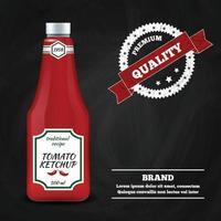 Molho de ketchup ilustração vetorial de composição de propaganda realista vetor