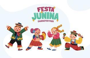 festa junina desenho de personagens - edição infantil vetor