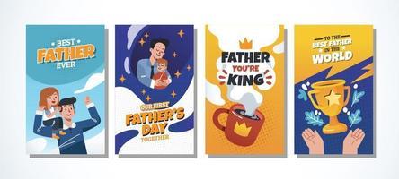conjunto de cartão do dia do pai vetor