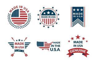 conceito de conjunto de logotipo made in USA vetor