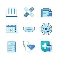 conjunto de ícones de vacina covid19 vetor