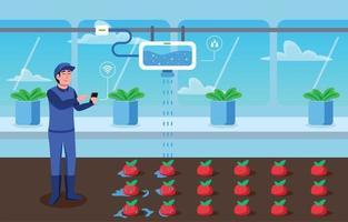 jardim integrado inteligente e tecnologia agrícola vetor