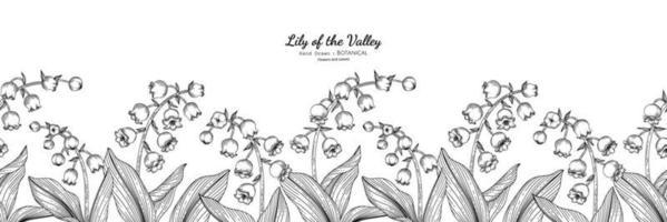 padrão sem emenda lírio do vale flor e folha mão desenhada ilustração botânica com arte de linha. vetor