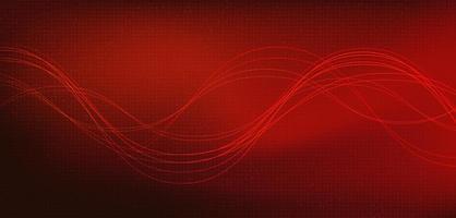 linha de onda de som digital baixa e escala mais rica em fundo vermelho vetor