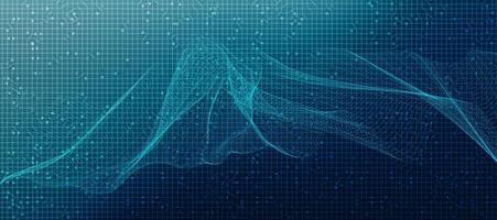 onda sonora de linha digital abstrata em fundo azul vetor