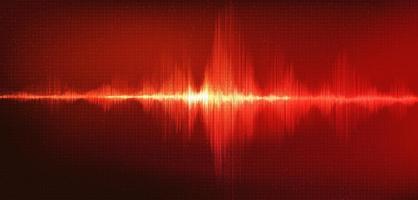 onda sonora digital vermelha escala baixa e alta richter com vibração de círculo em fundo vermelho vetor