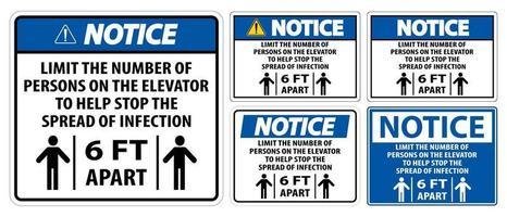 observe o distanciamento físico do elevador vetor