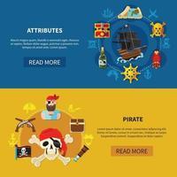 ilustração vetorial pirata banners horizontais vetor