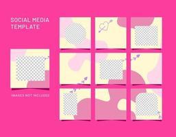 modelos de mídia social, banners, blogs, argumentos de venda de moda. cartazes de vendas de quebra-cabeça com moldura quadrada totalmente editáveis. fundos vetoriais de belas formas abstratas vetor