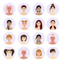 conjunto de penteados femininos de avatar. lindas garotas com penteados diferentes, isolados em um fundo branco. vetor