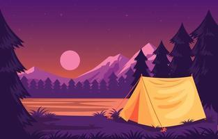 local de acampamento em lago e paisagem montanhosa vetor