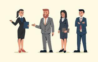 empresários cumprimentando para apresentação vetor