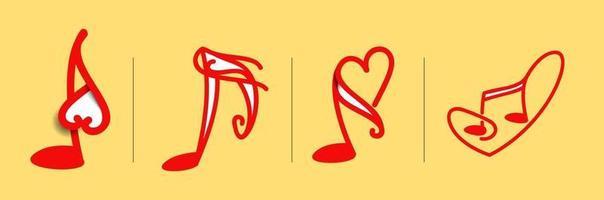 música beatwith coração logotipo definir ilustração em vetor modelo design.