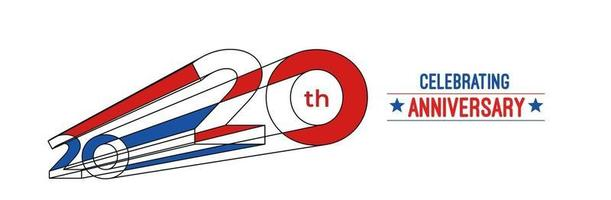 Projeto de comemoração de aniversário de 20 anos. Ilustração em vetor rgb arte linha de cor 3D.