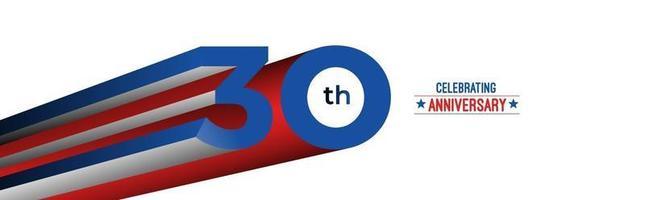 Projeto de celebração de aniversário de 30 anos. Ilustração em vetor rgb arte linha de cor 3D.