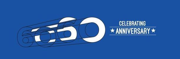 Projeto de celebração de aniversário de 50 anos. Ilustração em vetor rgb arte linha de cor 3D.