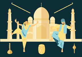 Vetor de dança folclórica indiana
