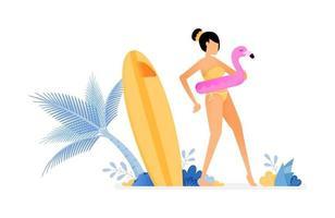 ilustração de feriado de mulher usando bóia de flamingo e se preparando para nadar, prancha de surf perto de coqueiro desenho vetorial pode ser para cartazes banners anúncios sites web marketing móvel vetor