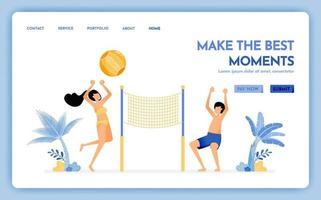 site de viagens com o tema de fazer o melhor momento de férias, casal aproveitando as férias jogando vôlei de praia design vetorial pode ser usado para banners de cartaz website web mobile flyer vetor