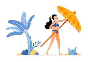 ilustrações de férias de mulher tenta abrir um guarda-sol e relaxar sob uma bananeira e luz do sol conceito de design isolado pode ser para cartazes banners anúncios websites web mobile marketing vetor