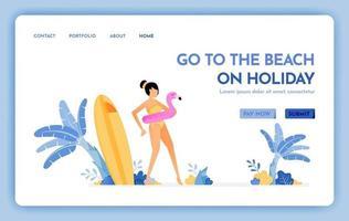 website de viagens com o tema de ir à praia nas férias desfrutar de férias em ilha tropical natural praia design de vetor pode ser usado para banner de pôster website web mobile marketing flyer
