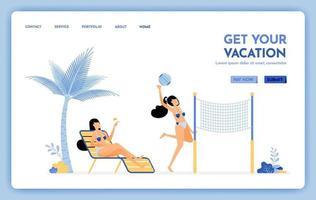 site de viagens com o tema tire suas férias. aproveite os serviços de viagens de férias para ilhas tropicais, praias, vetor design pode ser usado para banners de cartazes website web mobile marketing flyer