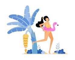 ilustrações de férias de uma mulher usando biquíni e bóia de flamingo rosa frutificando bananeira na praia. vetor