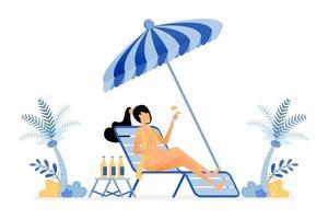 ilustração de férias felizes de mulher tomando banho de sol sentada na praia e bebendo, aproveite as férias sob um coqueiro. vetor