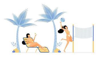 ilustração de férias felizes de mulheres relaxando e curtindo as férias na praia deitando-se sob coqueiros ou jogando voleibol. vetor