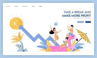 site de viagens com o tema de fazer uma pausa e lucrar mais, desfrutar de viagens e férias para apoiar o design de vetor de crescimento pode ser usado para banners de cartazes website web marketing flyer