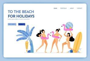 site de viagens com o tema ida à praia no feriado, mulheres usando biquínis e aproveitando para ir nadar desenho vetorial pode ser usado para banners de cartazes website web mobile marketing flyer vetor